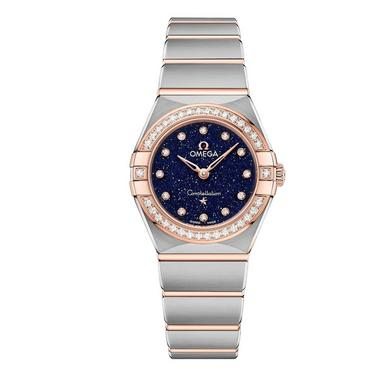 OMEGA Constellation Manhattan 18ct Rose Gold And Steel Diamond Ladies Watch