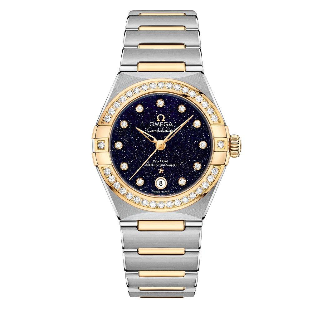 OMEGA Constellation Manhattan Steel and 18ct Gold Automatic Diamond Ladies Watch