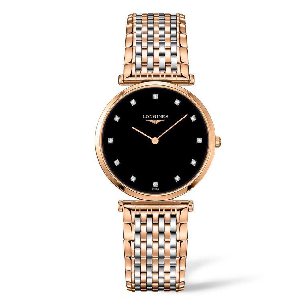 Longines Elegance La Grande Classique Steel And Rose Gold Plated Diamond Ladies Watch