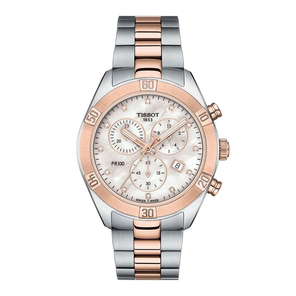 Tissot PR 100 Sport Chic Steel And Rose Gold Tone Chronograph Ladies Watch