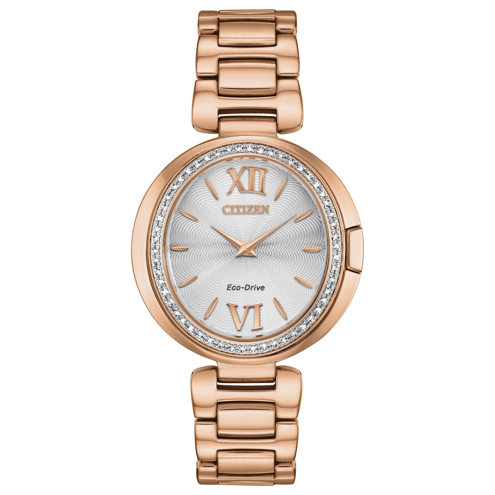 Citizen Capella Diamond Eco-Drive Rose Gold Plated Ladies Watch