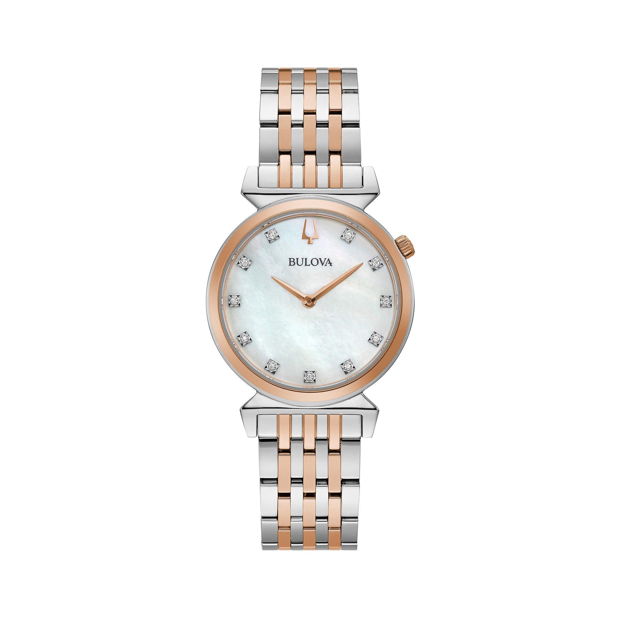 Bulova Classic Rose Gold Tone Diamond Ladies Watch