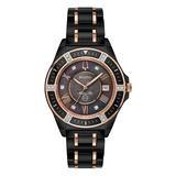 Bulova Marine Star Black And Rose Gold Plated Diamond Ladies Watch