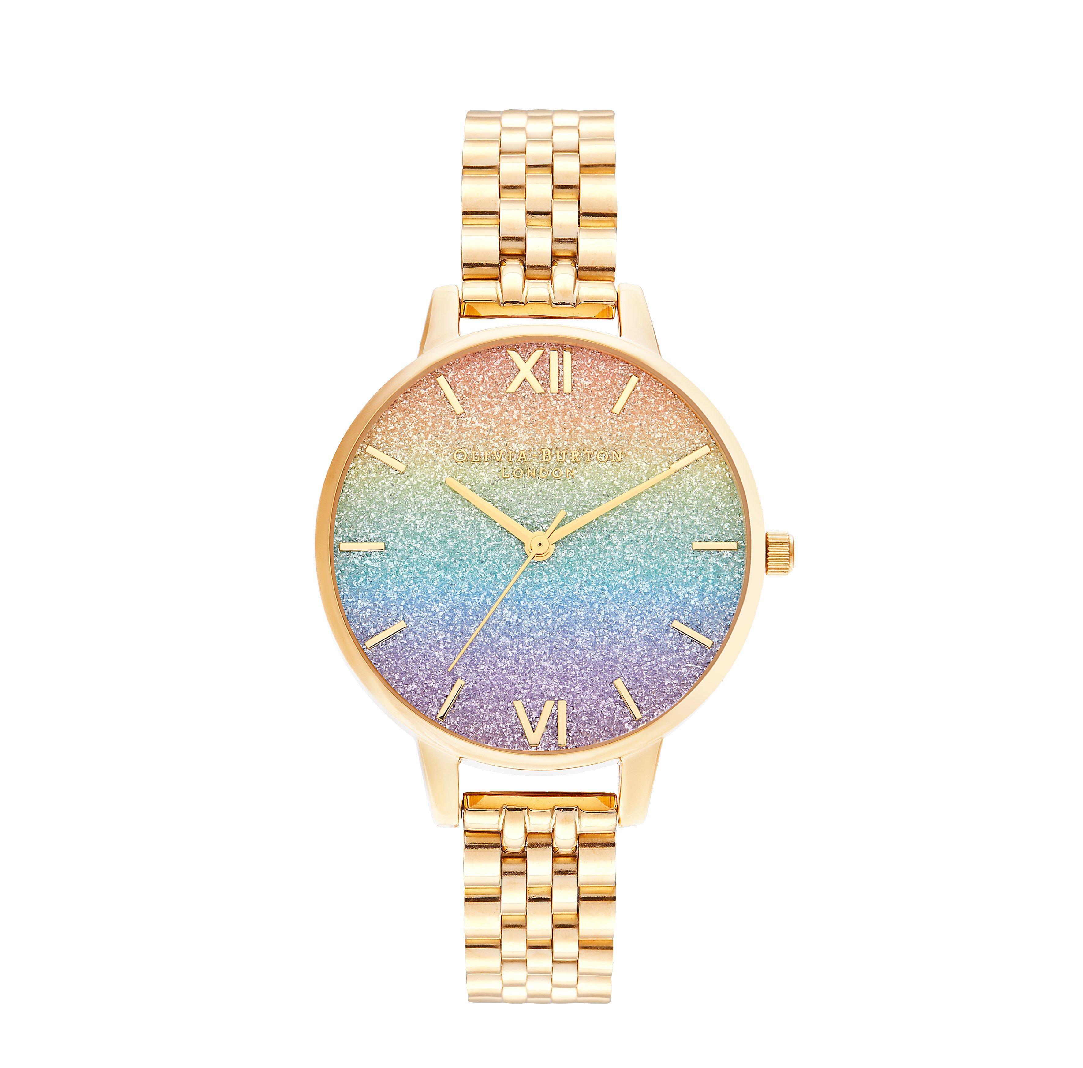 Olivia Burton Rainbow Glitter Gold Tone Ladies Watch