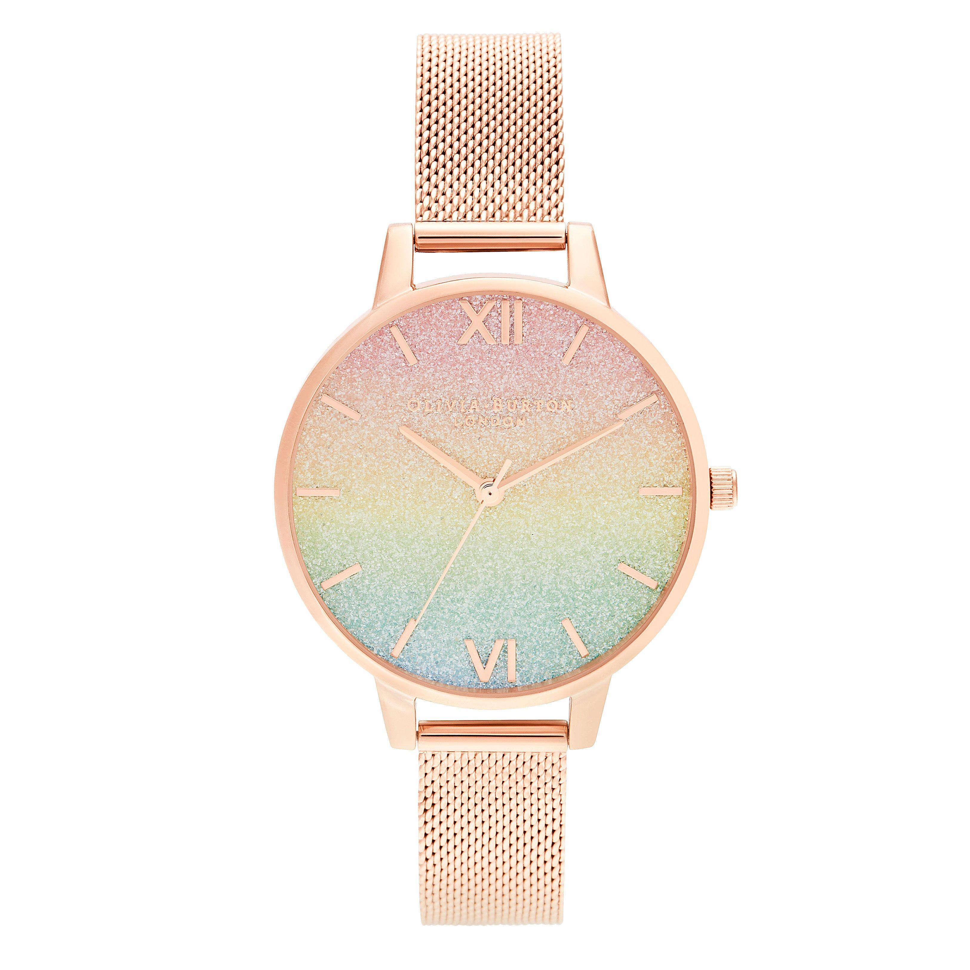Olivia Burton Rainbow Glitter Rose Gold Tone Ladies Watch