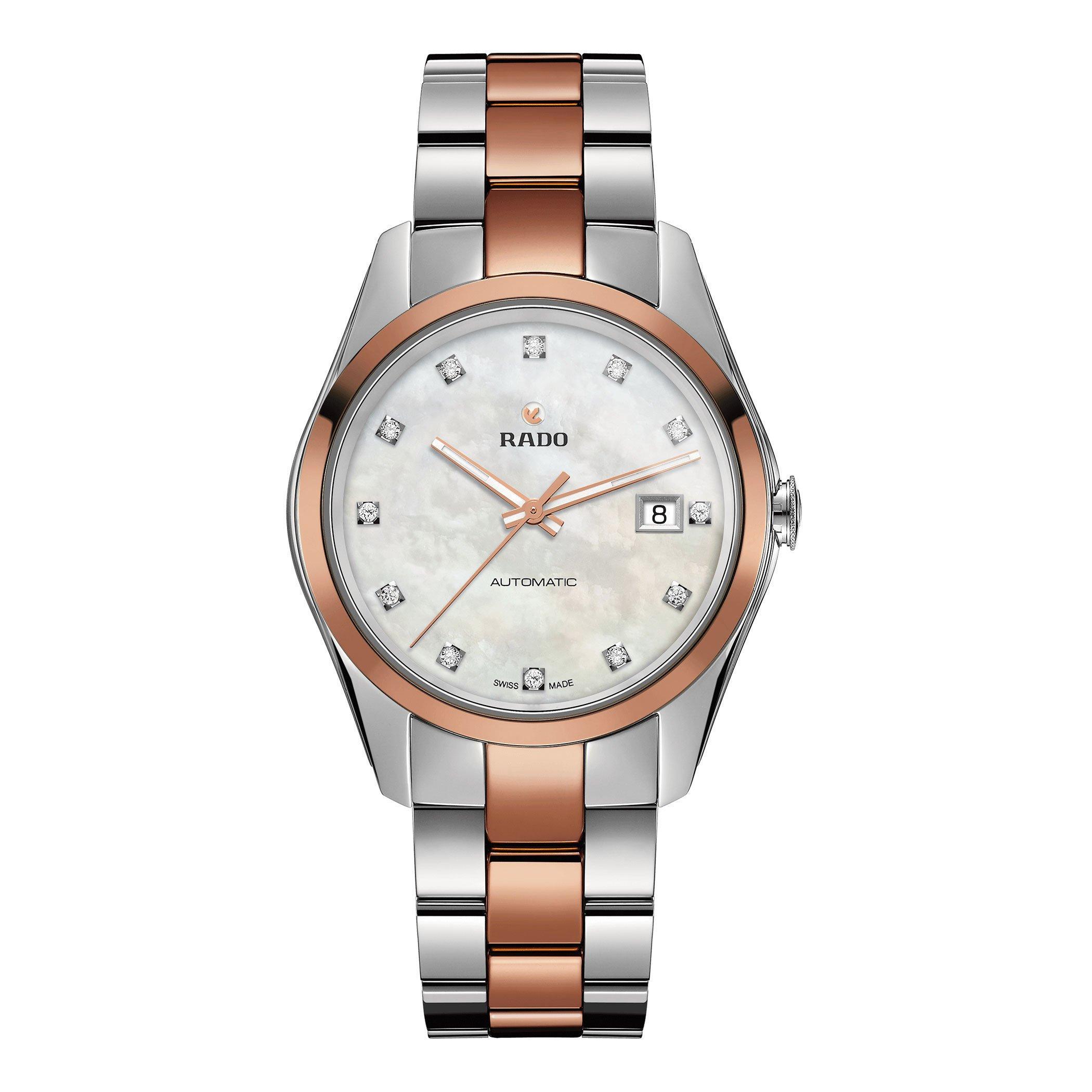 Rado HyperChrome Diamond Steel and Rose Gold Automatic Ladies Watch