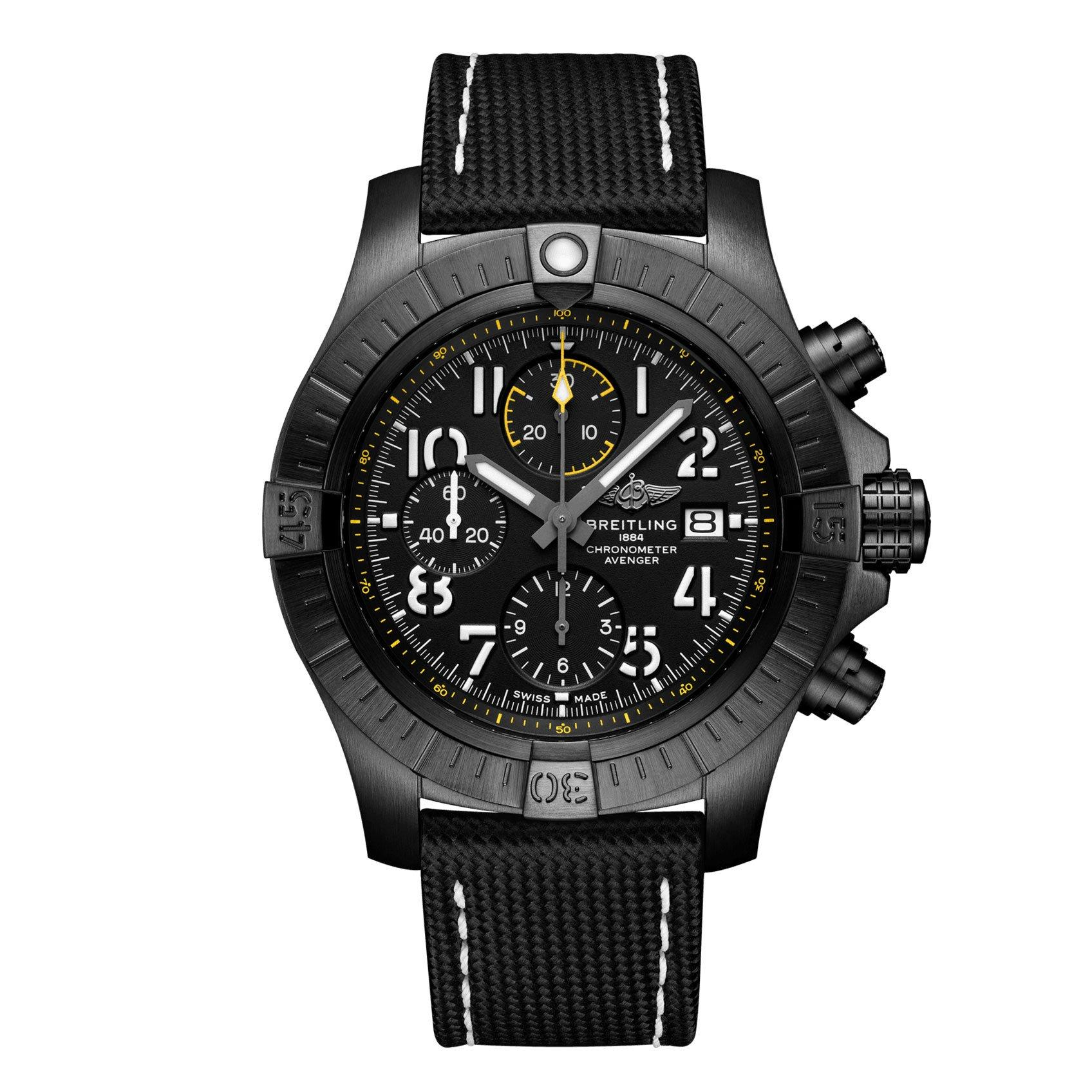 Breitling Avenger Chronograph 45 Night Mission Black Titanium Automatic Men's Watch