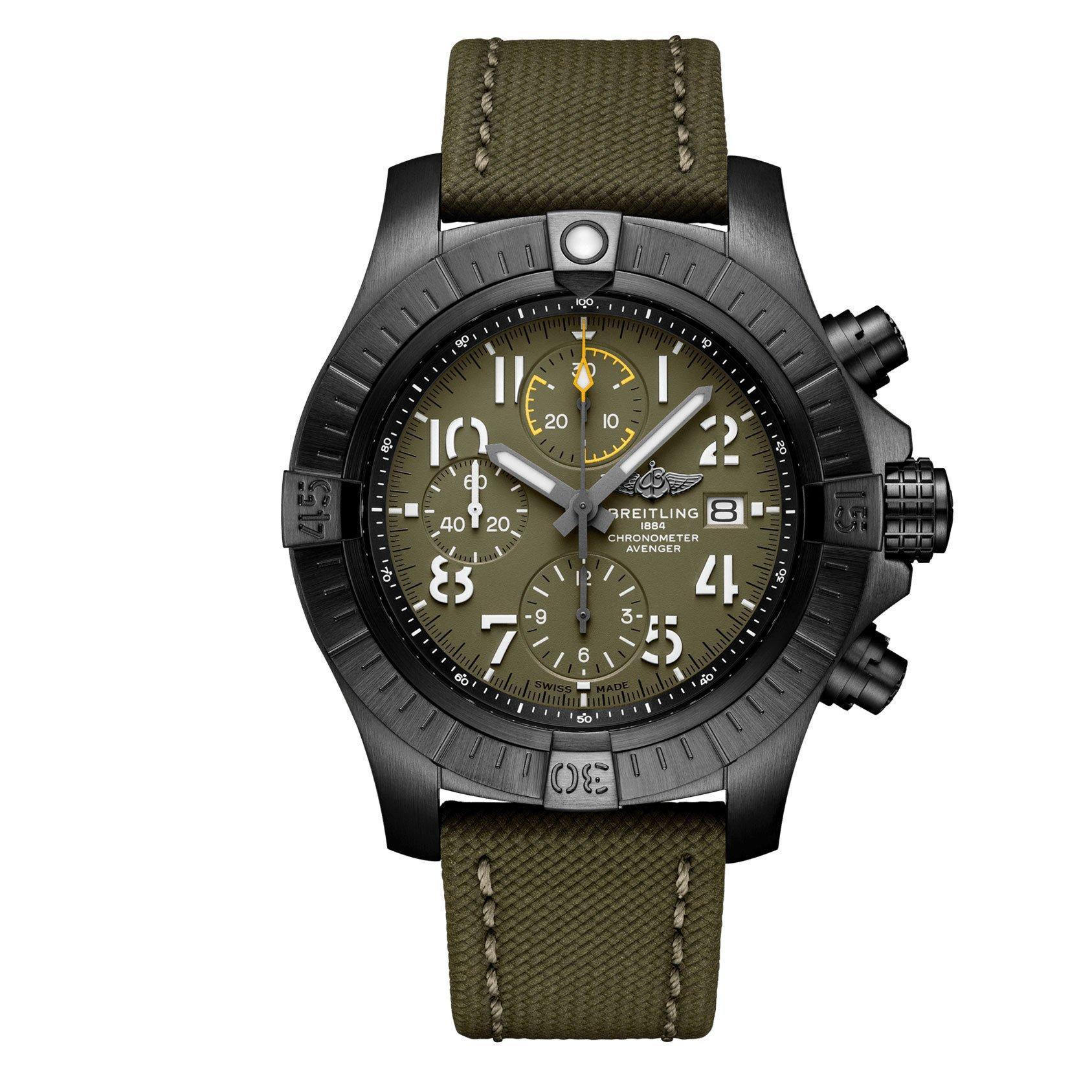 Breitling Avenger Chronograph 45 Night Mission Black Titanium Automatic Men's Watch