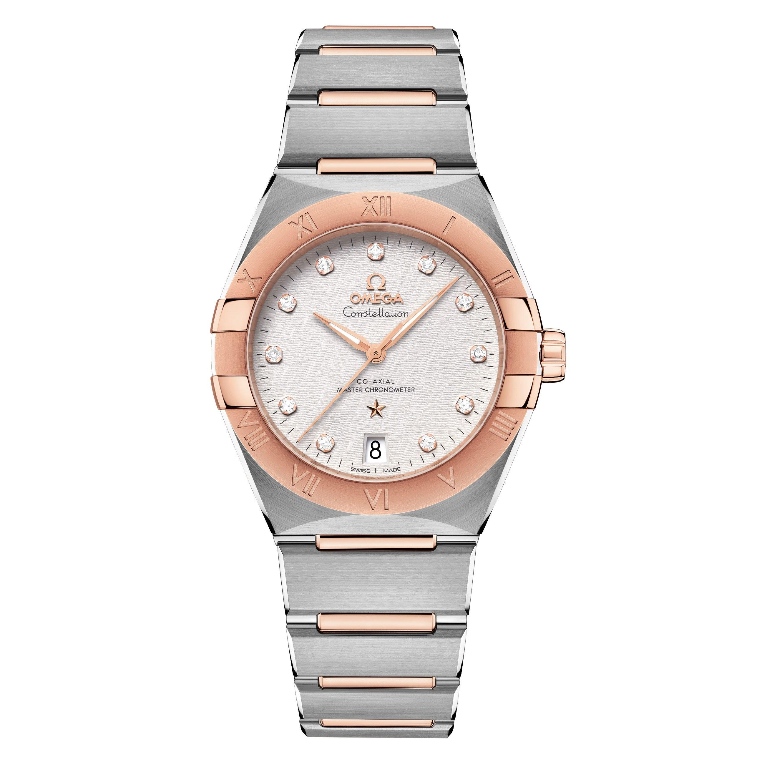 OMEGA Constellation Steel and 18ct Sedna Gold Automatic Diamond Ladies Watch