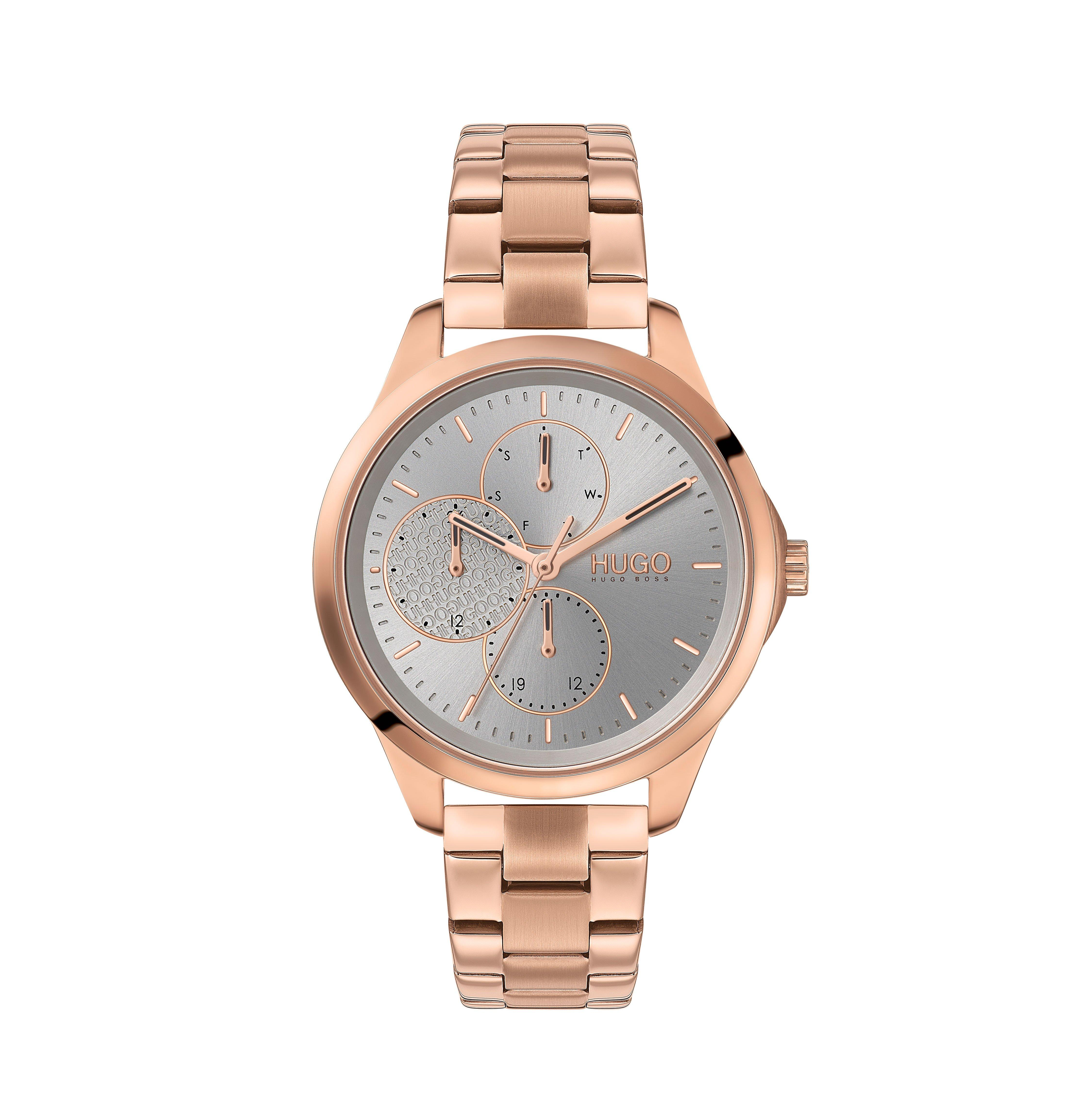 HUGO Fearless Rose Gold Tone Chronograph Ladies Watch
