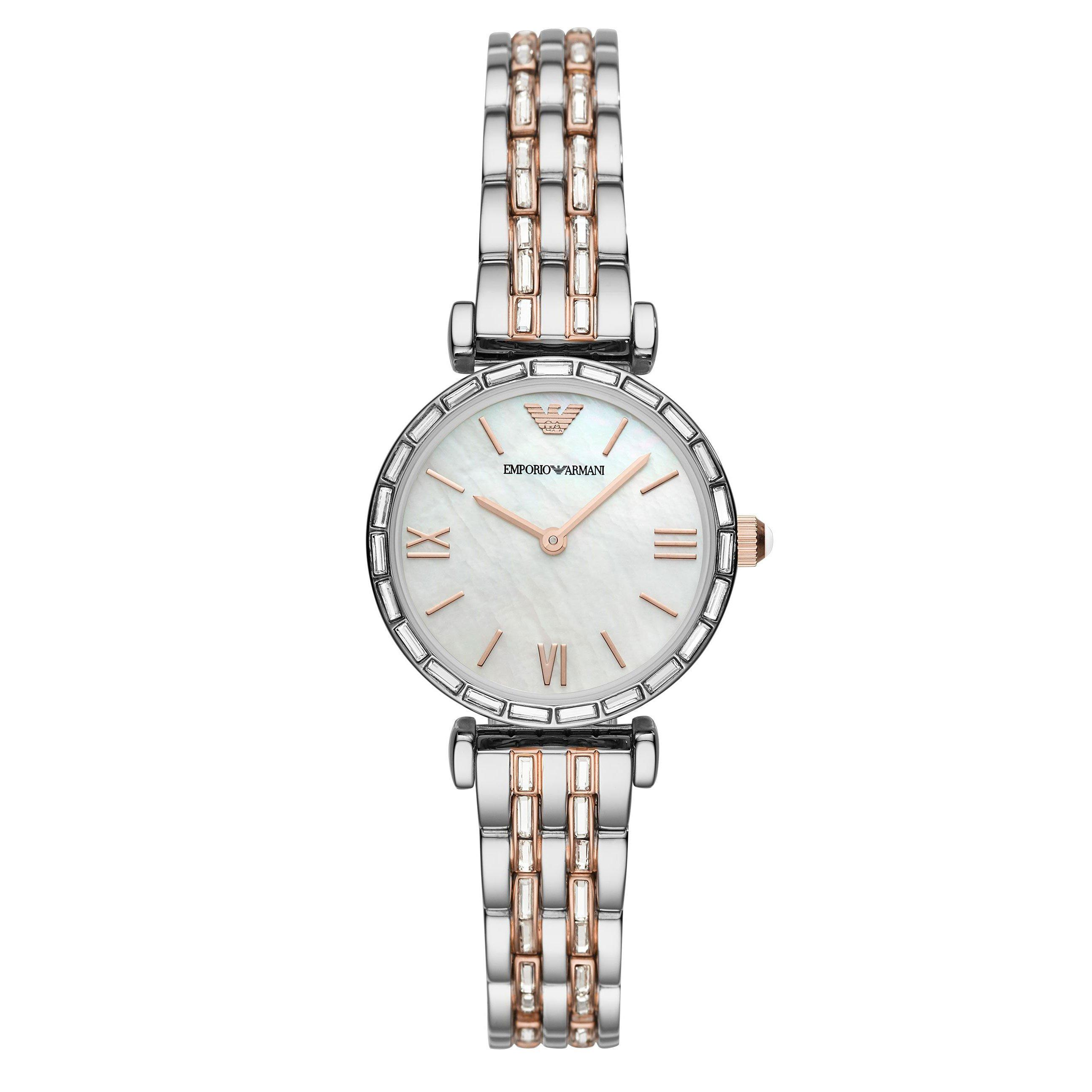 Emporio Armani Steel and Rose Gold Tone Ladies Watch
