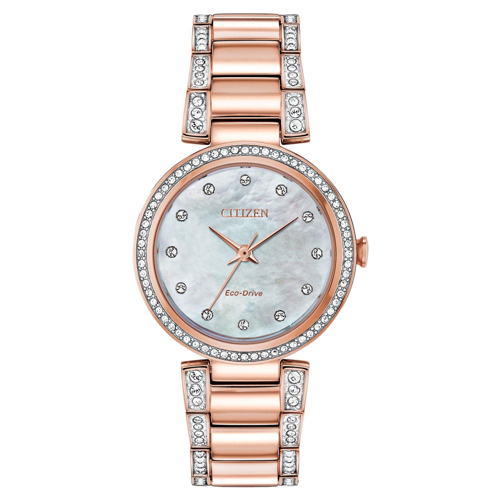 Citizen Silhouette Crystal Rose Gold Plated Ladies Watch