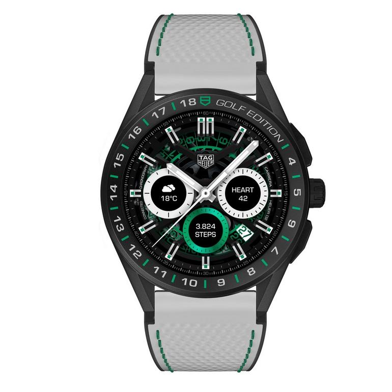 TAG Heuer Connected 2020 Golf Edition Titanium and Black Ceramic Rubber Smartwatch