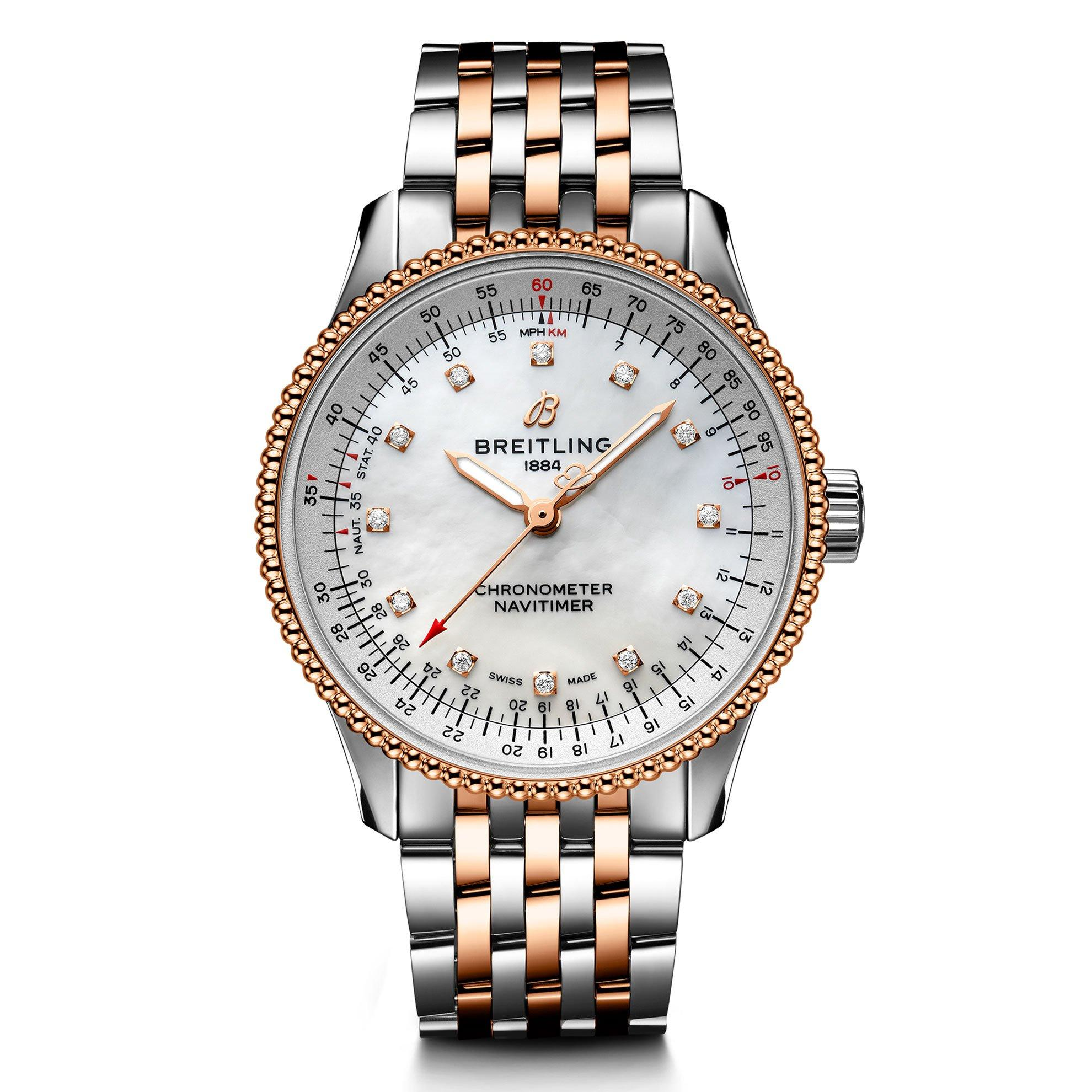 Breitling Navitimer Automatic 35 Steel and 18ct Red Gold Diamond Ladies Watch