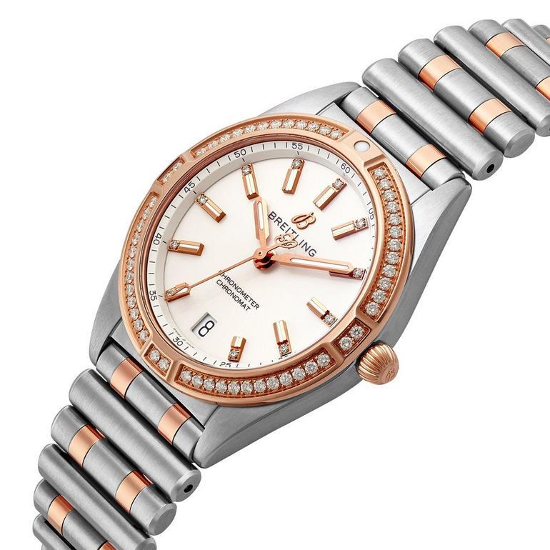 Breitling Chronomat Steel and 18ct Rose Gold Diamond Ladies Watch