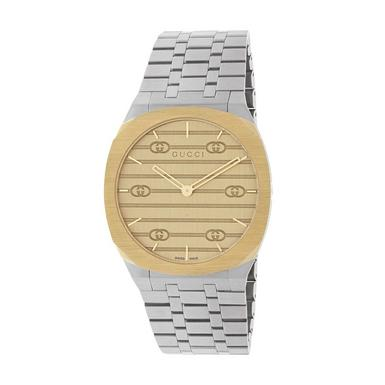 Gucci 25H Steel and Gold PVD Watch