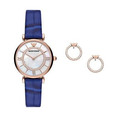 Emporio Armani T-Bar Rose Gold Tone Ladies Watch and Earring Set