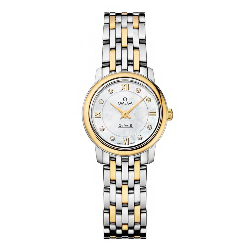 OMEGA De Ville Prestige Steel and 18ct Gold Diamond Ladies Watch
