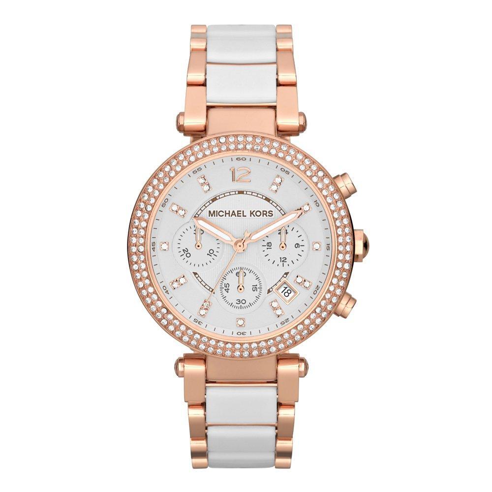 Michael Kors Parker Rose Gold Crystal Chronograph Ladies Watch