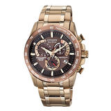 Citizen Eco-Drive Rose Gold Plated and Stainless Steel Perpetual A-T Chronograph Men's Watch