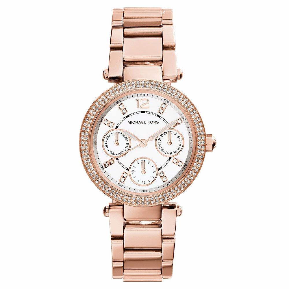 Michael Kors Parker Glitz Mini Rose Gold Tone Chronograph Ladies Watch