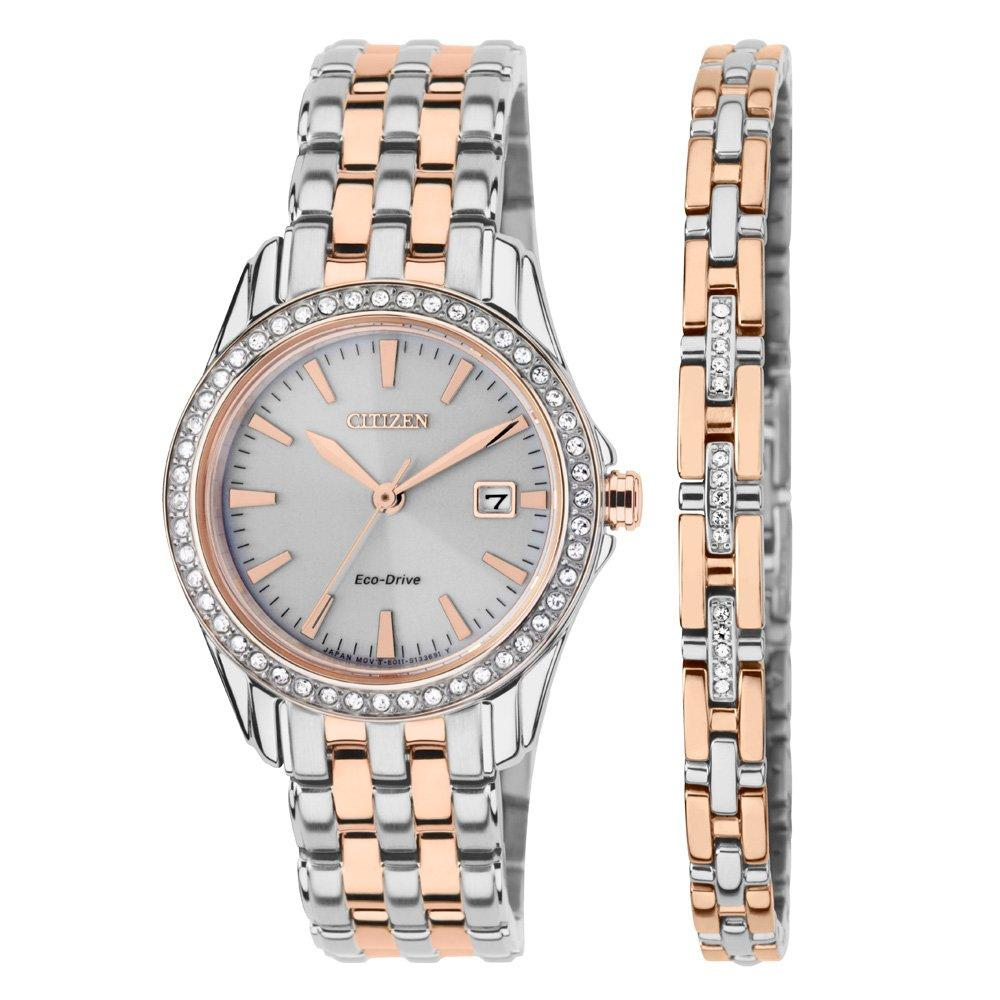 Citizen Eco-Drive Rose Gold Plated and Stainless Steel Crystal Ladies Watch and Bracelet Set