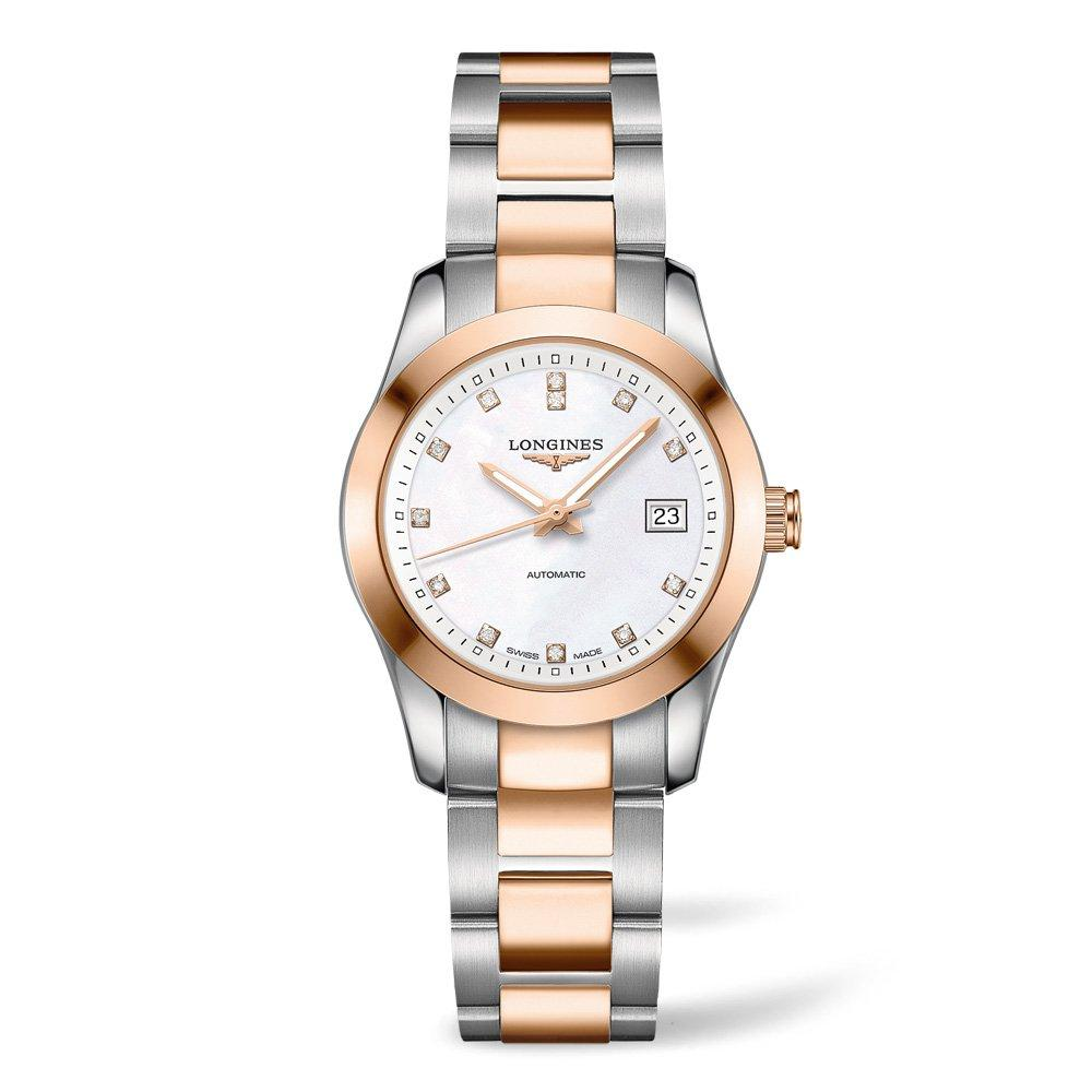 Longines Conquest Classic 18ct Rose Gold Plated Stainless Steel Diamond Automatic Ladies Watch