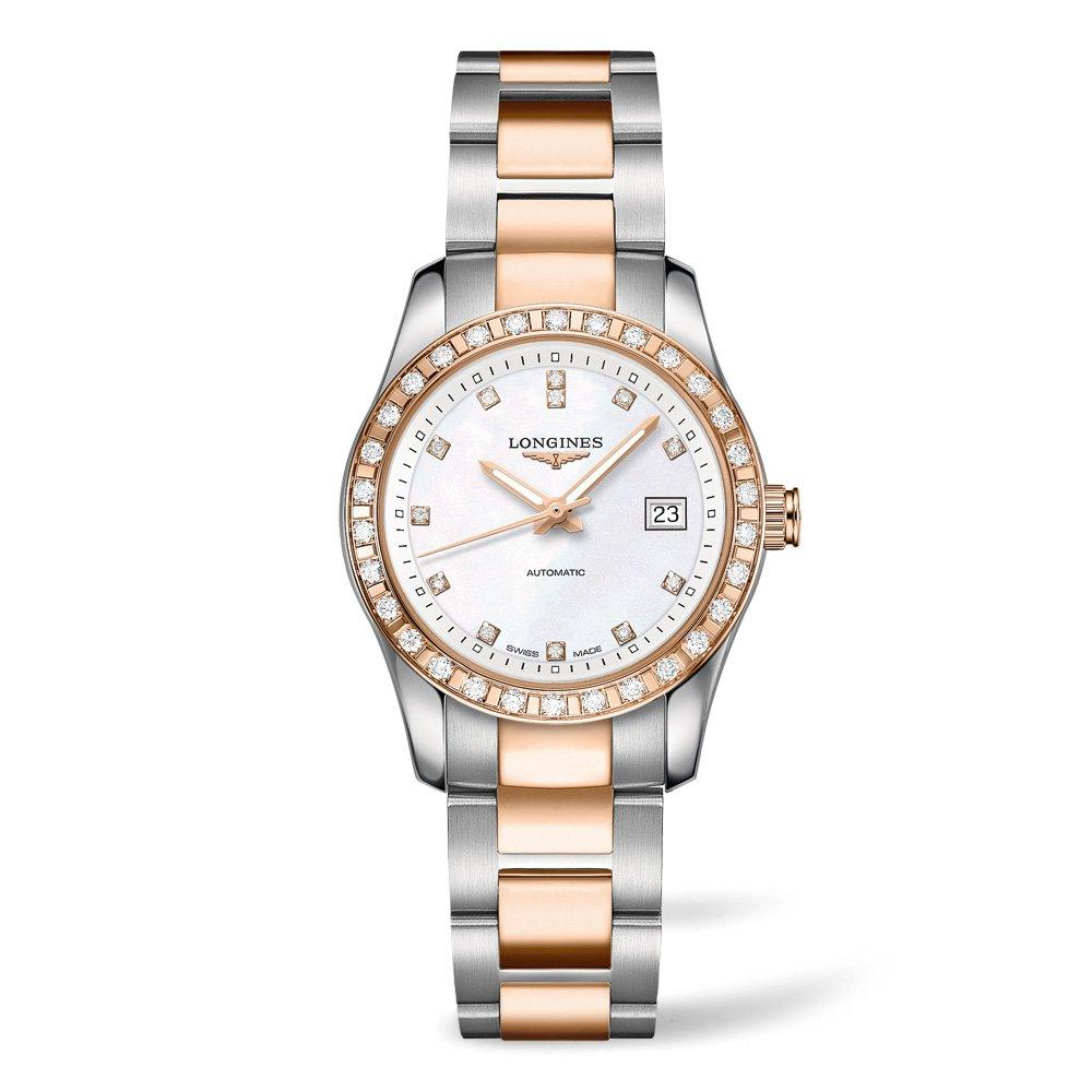 Longines Conquest Classic 18ct Rose Gold Plated and Stainless Steel Diamond Automatic Ladies Watch