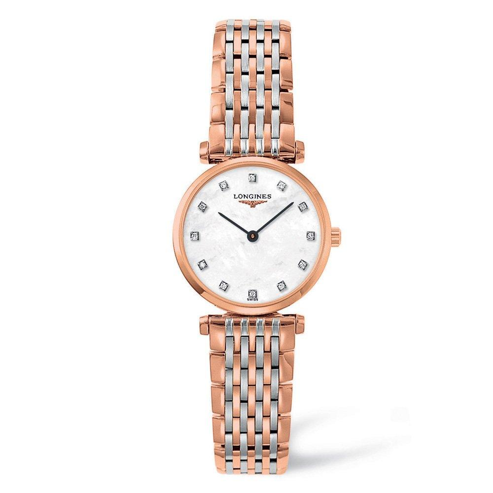 Longines La Grande Classique Rose Gold Plated and Stainless Steel Diamond Ladies Watch