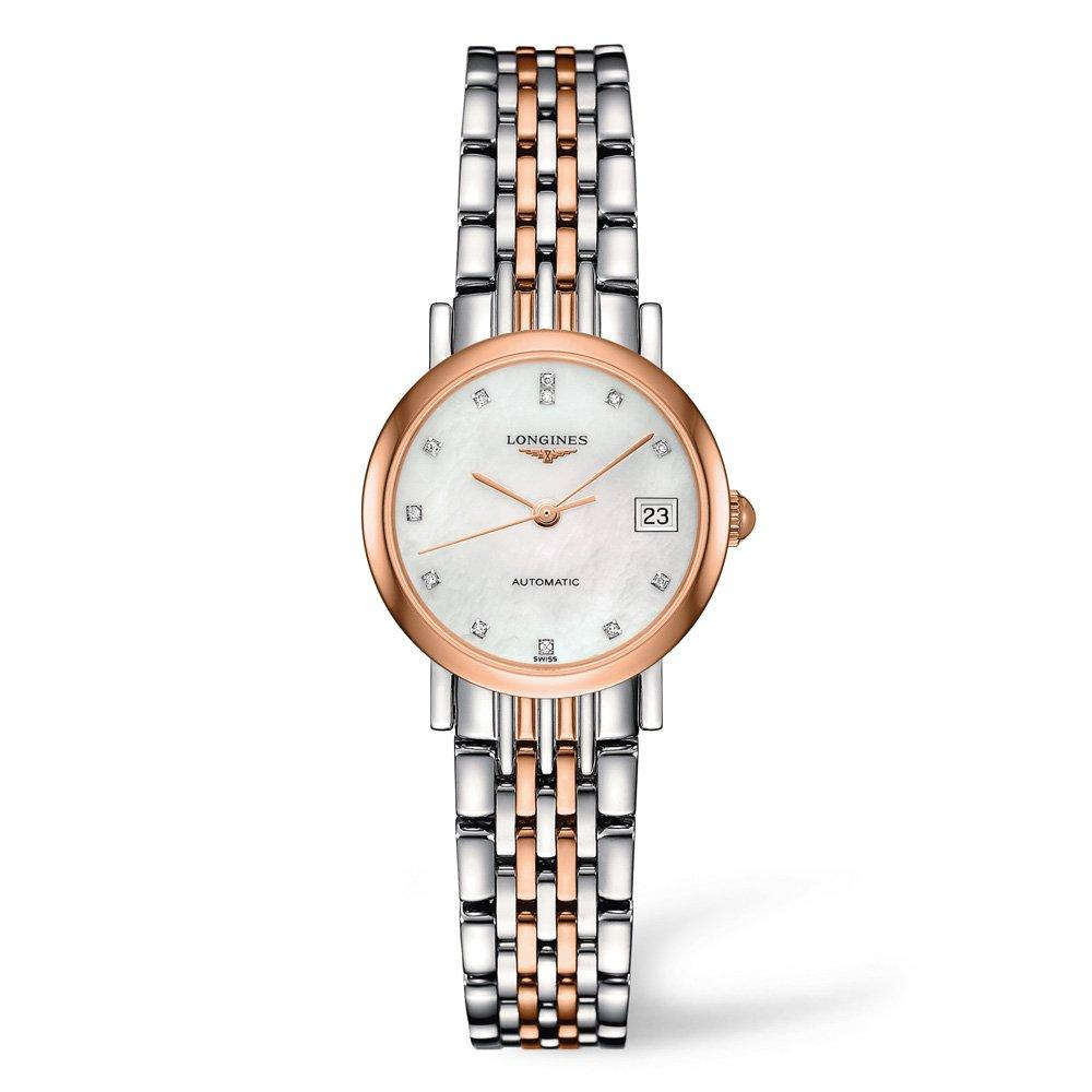 Longines Elegant Rose Gold Plated and Stainless Steel Diamond Automatic Ladies Watch