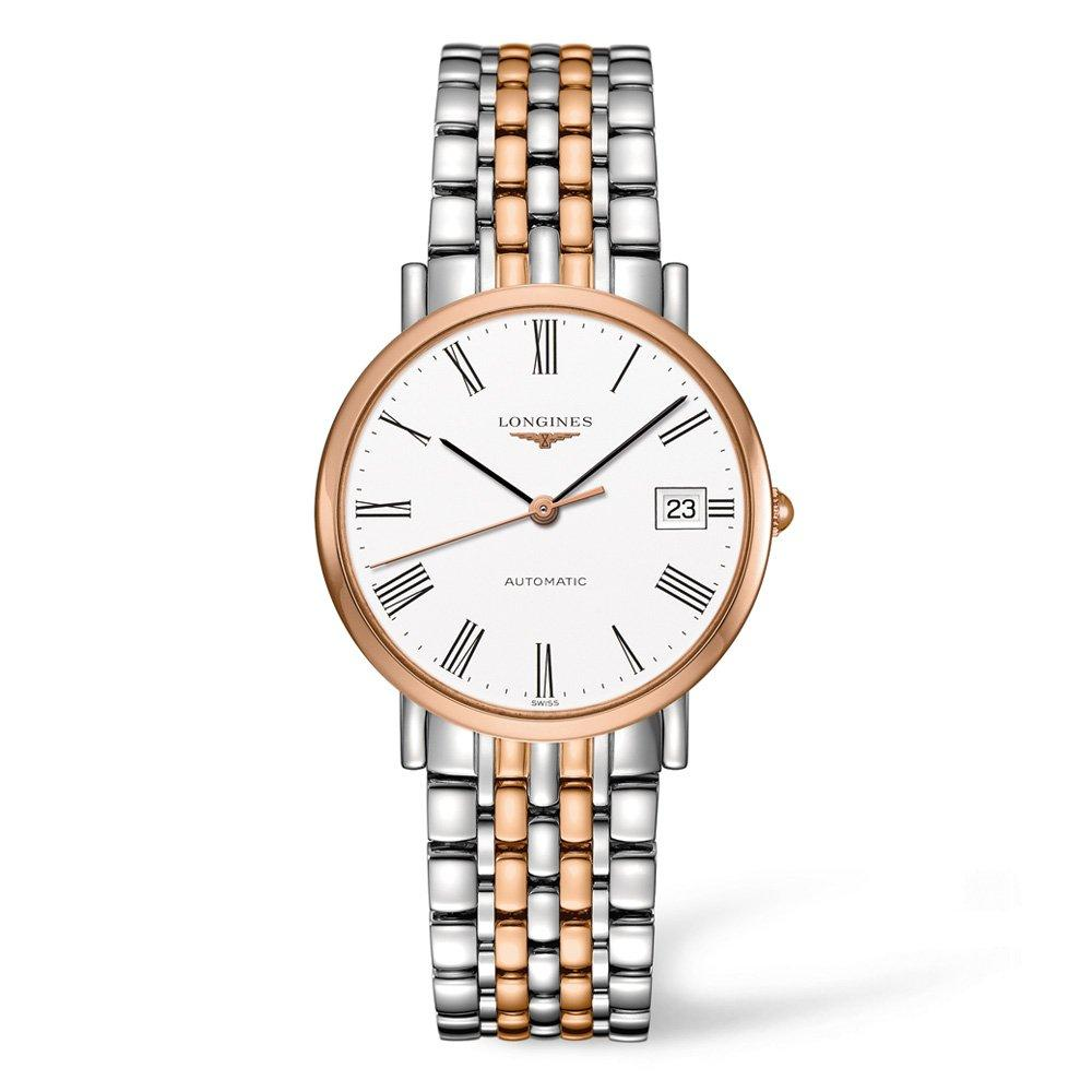 Longines Elegant Collection Rose Gold Plated and Stainless Steel Automatic Men's Watch