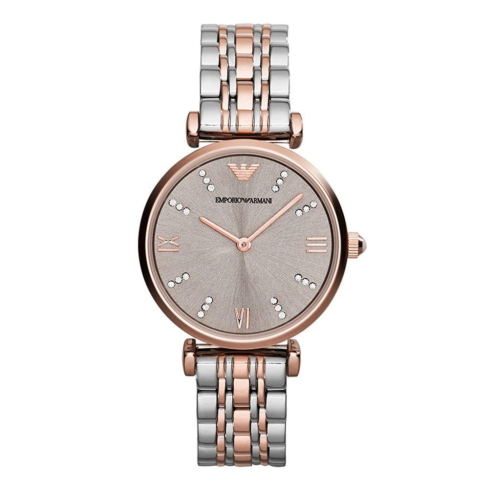 Emporio Armani Rose Gold Tone and Stainless Steel Ladies Watch
