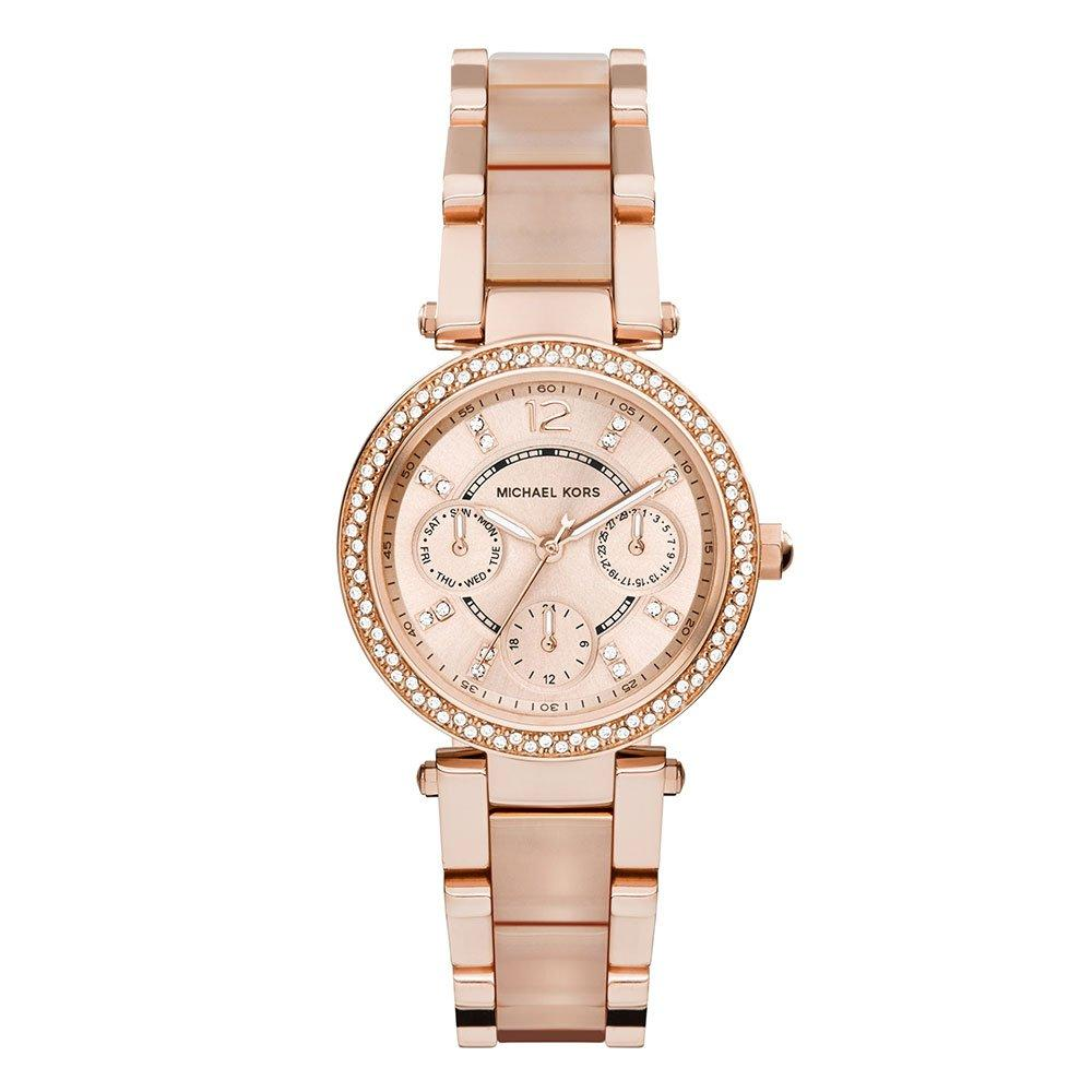Michael Kors Parker Rose Gold Tone and Acrylic Chronograph Ladies Watch
