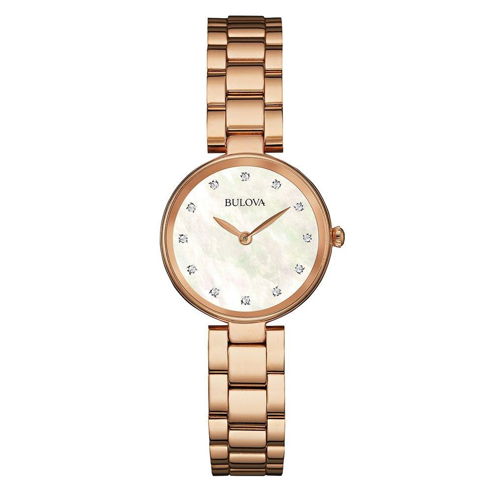 Bulova Diamond Rose Gold Tone Ladies Watch