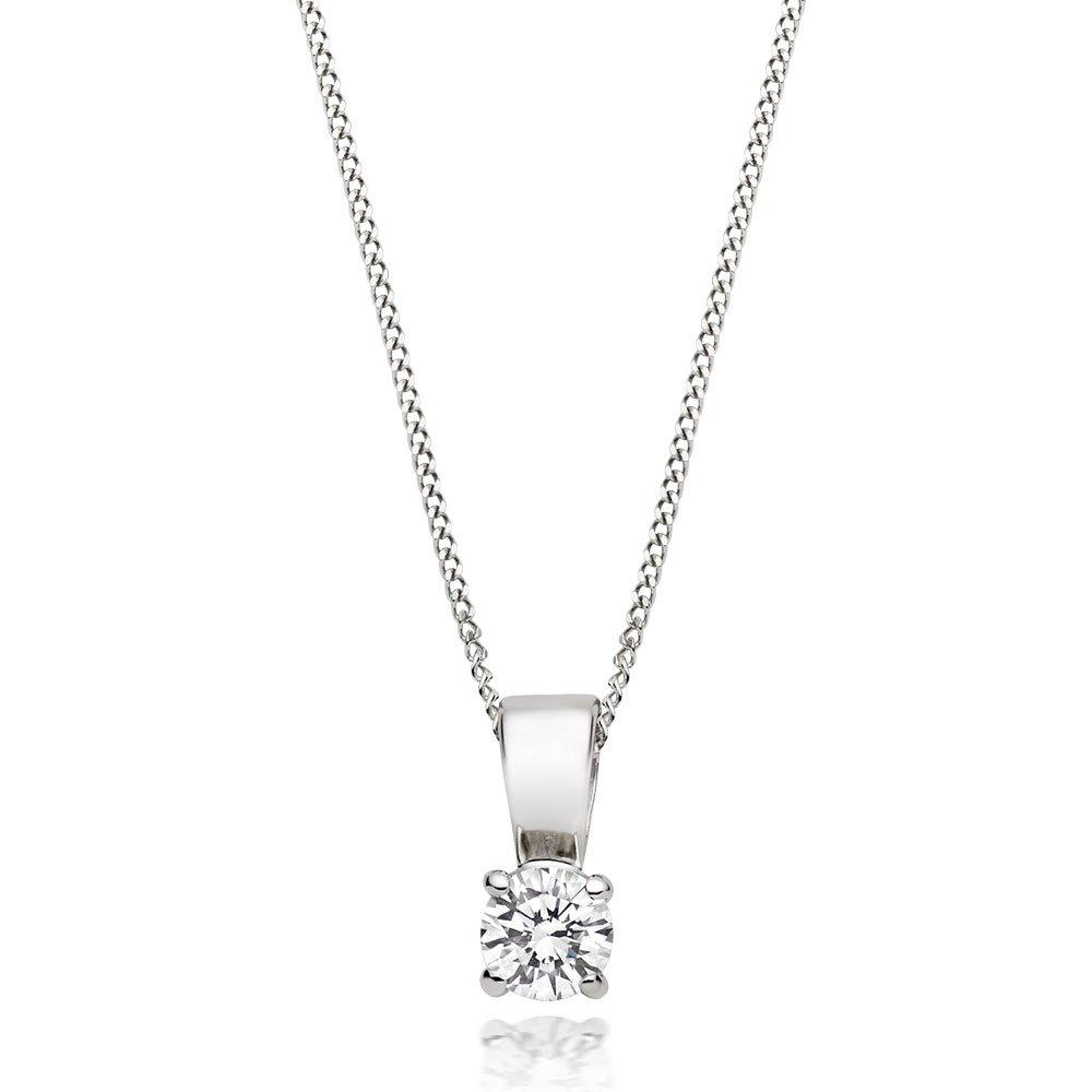 Platinum Diamond Solitaire Pendant