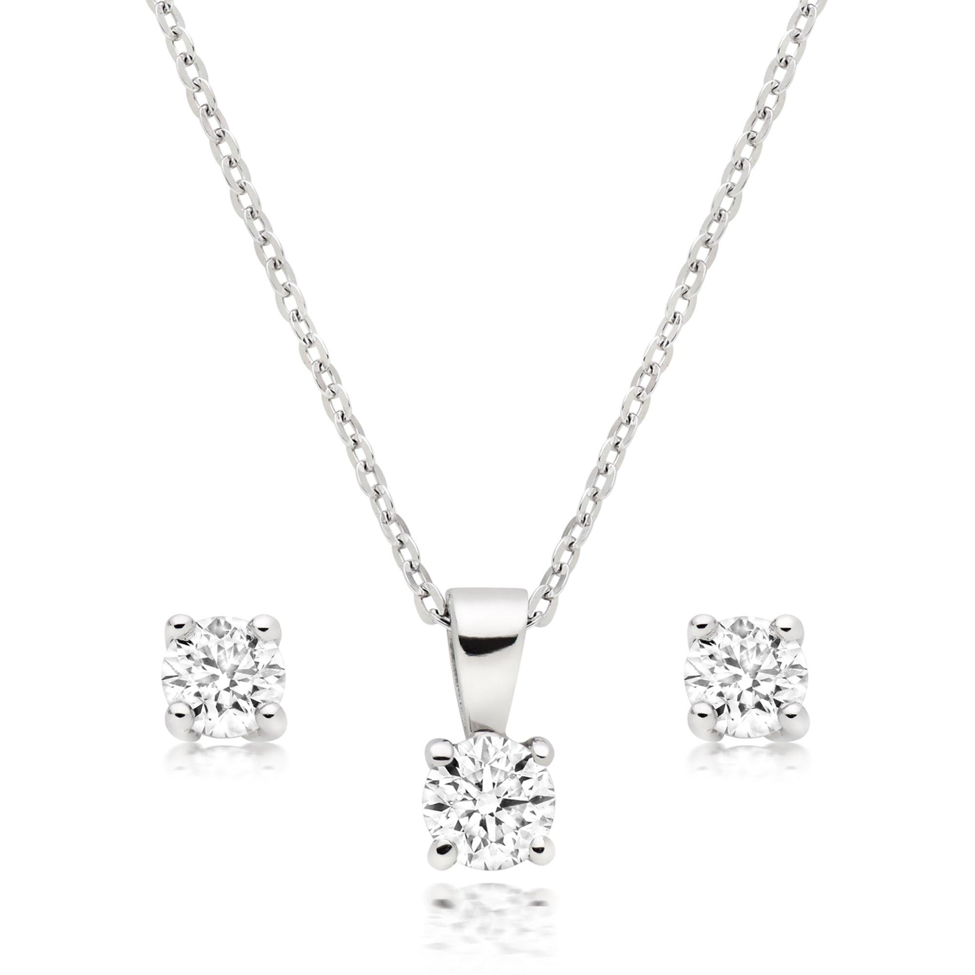 Platinum Diamond Stud Earring and Pendant Set