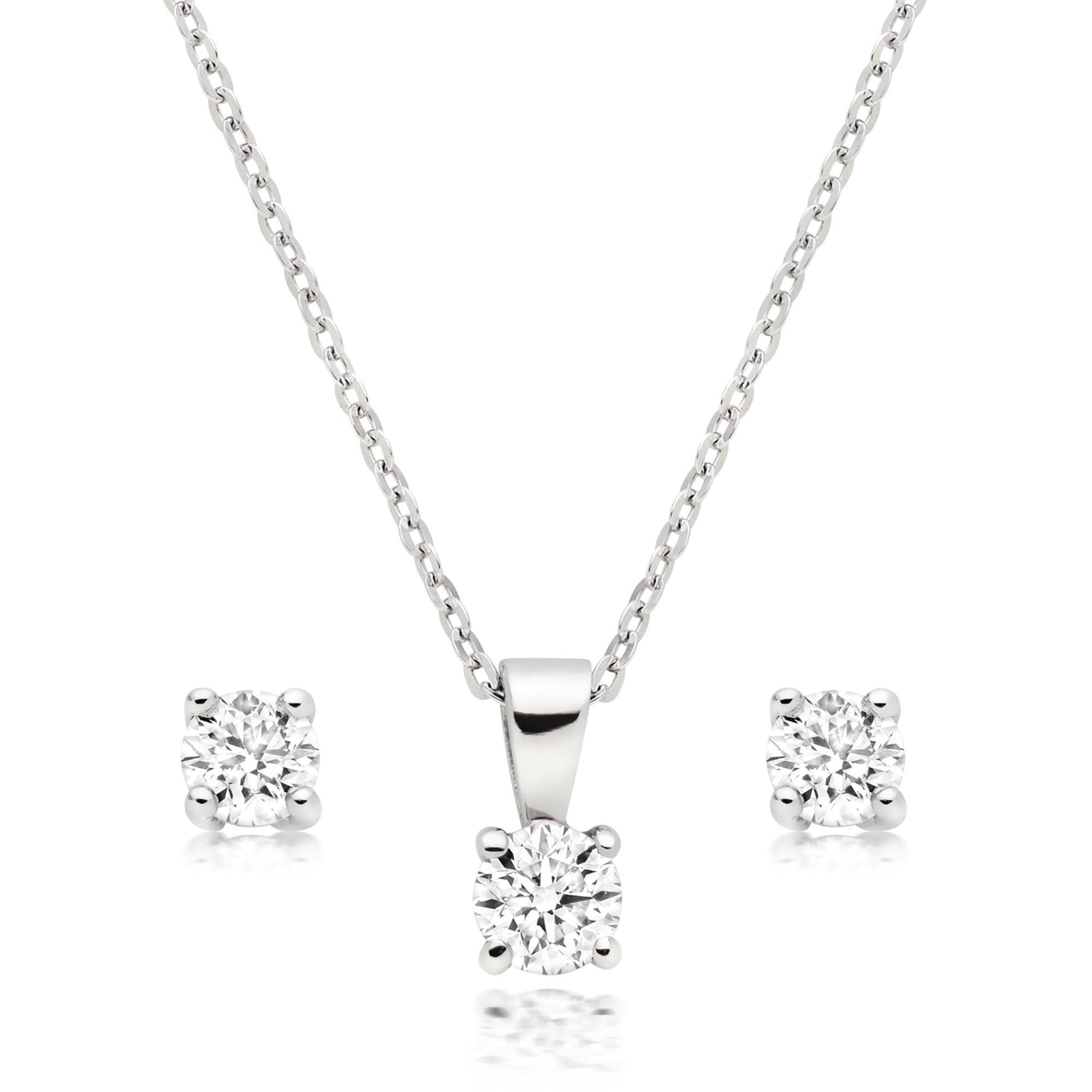 Platinum Diamond Pendant and Earrings Set