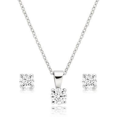 Platinum Diamond Pendant And Earrings Set 0010346 Beaverbrooks The Jewellers