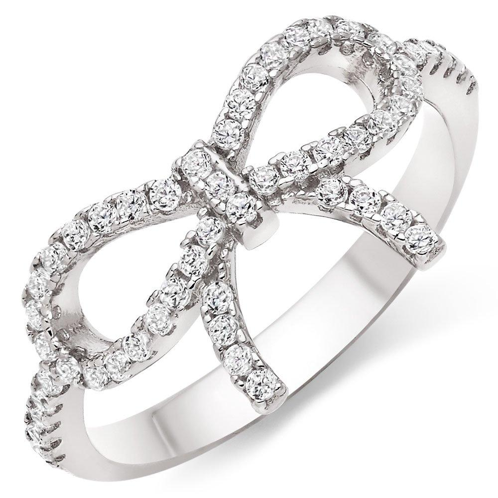Silver Cubic Zirconia Bow Ring