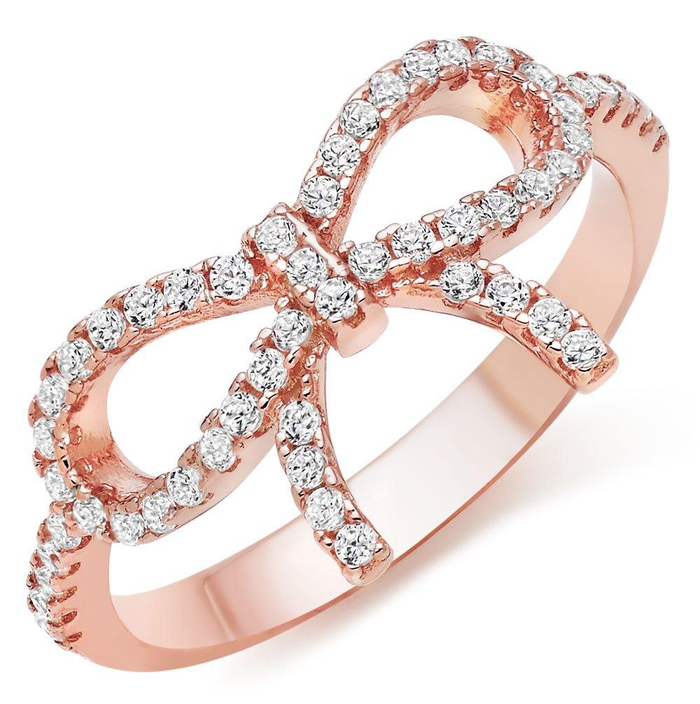 Silver Rose gold Plated Cubic Zirconia Bow Ring