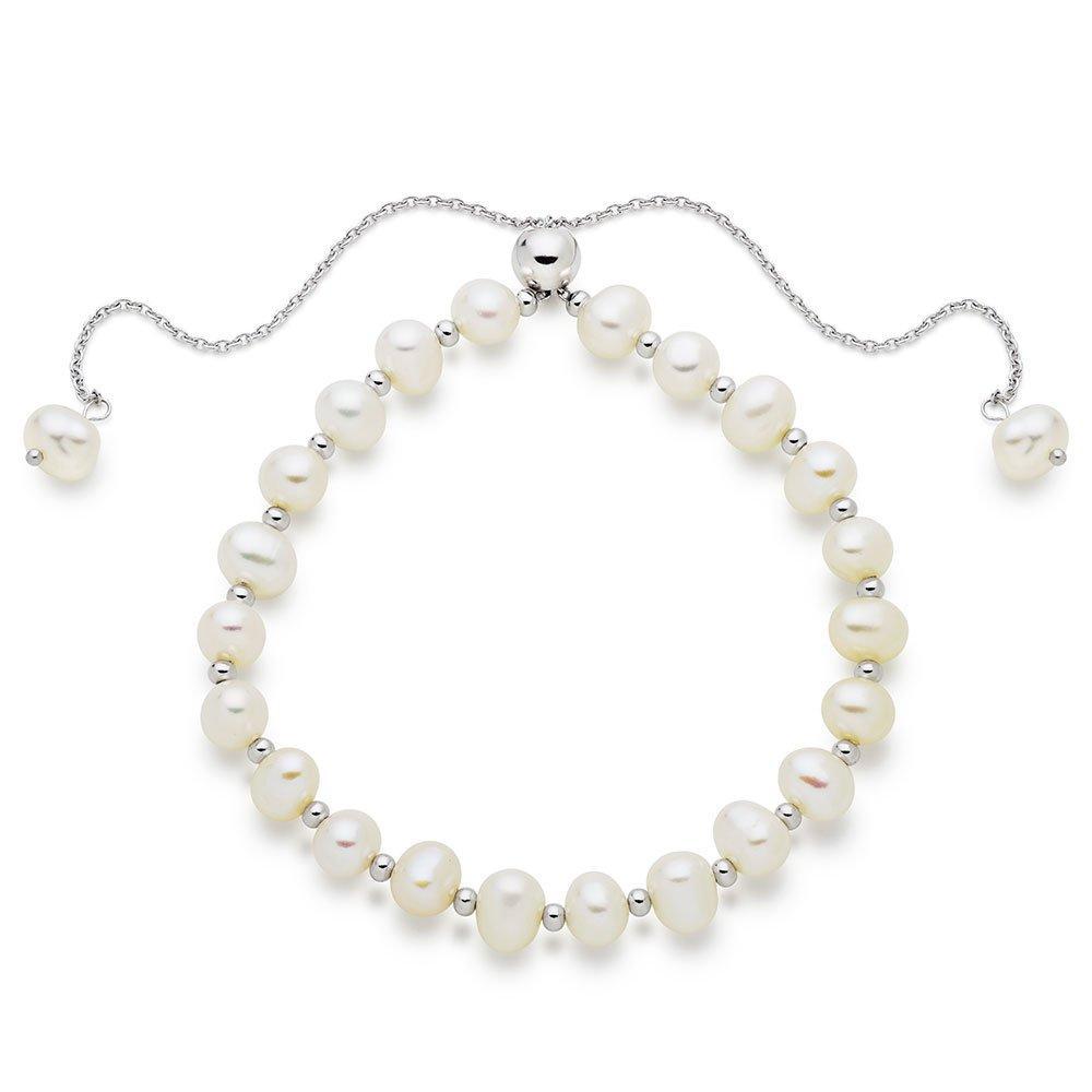 Silver Freshwater Cultured Pearl Adjustable Bracelet