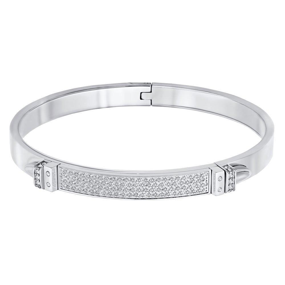 Swarovski Distinct White Metal Crystal Narrow Bangle