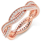 Silver Rose Gold Plated Cubic Zirconia Stacking Ring
