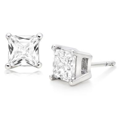 Silver Square Cubic Zirconia Stud Earrings