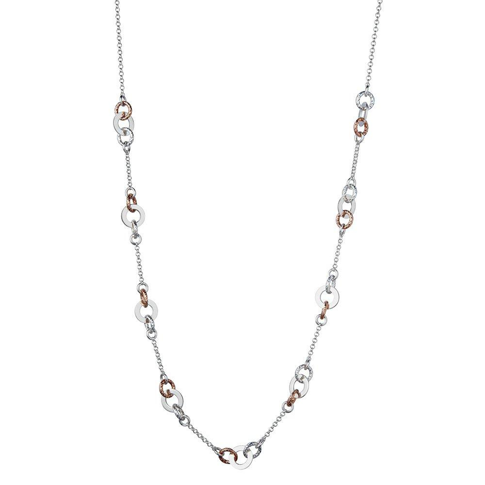 Links of London Aurora Silver and Rose Gold Plated Station Necklace