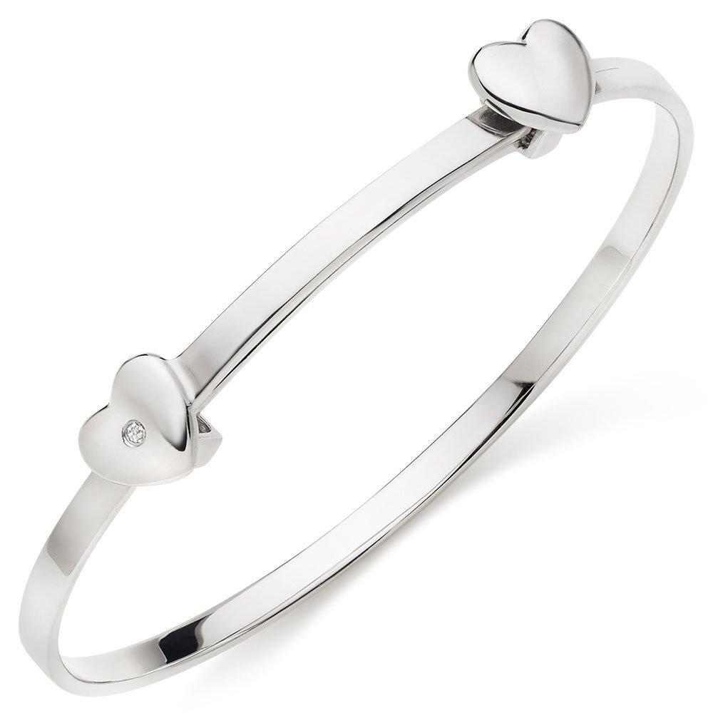 Mini B Silver Diamond Heart Bangle