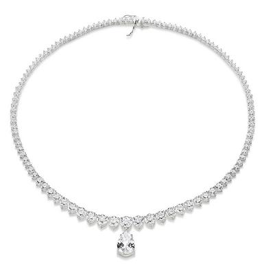 Silver Pear-Shaped Cubic Zirconia Necklace