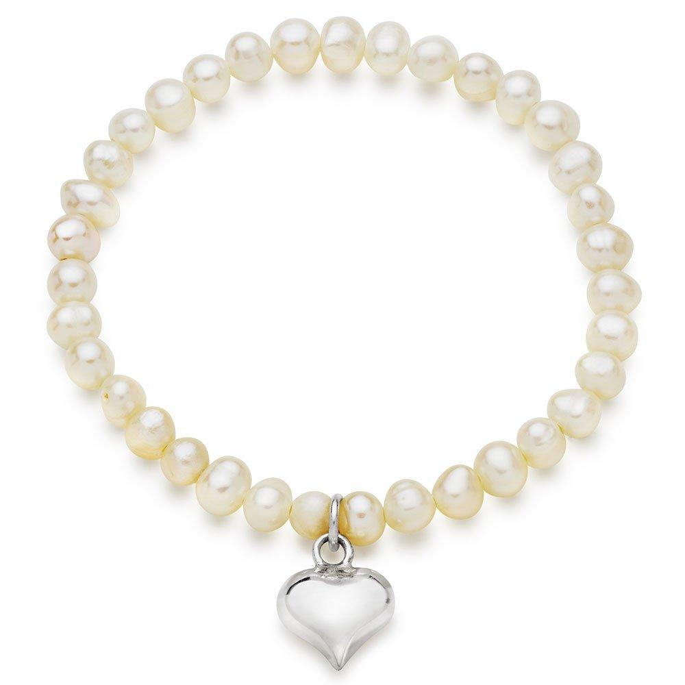 Children's Silver Freshwater Cultured Pearl Heart Charm Bracelet