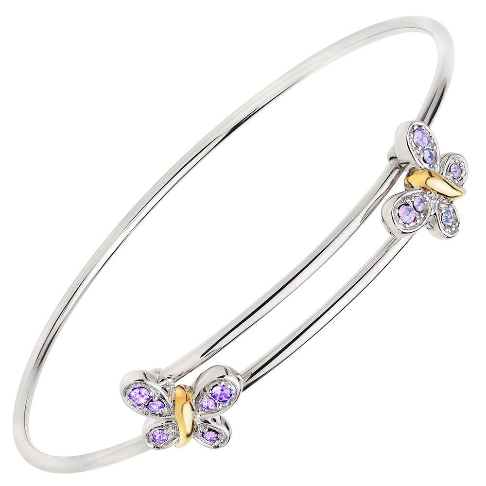 Mini B Silver and Gold Plated Crystal Butterfly Bangle