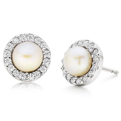 Silver Cubic Zirconia Freshwater Cultured Pearl Earrings